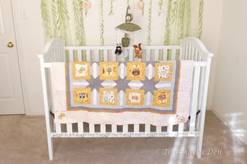 painted and stenciled crib